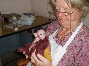 Clementien with Baby Monkey